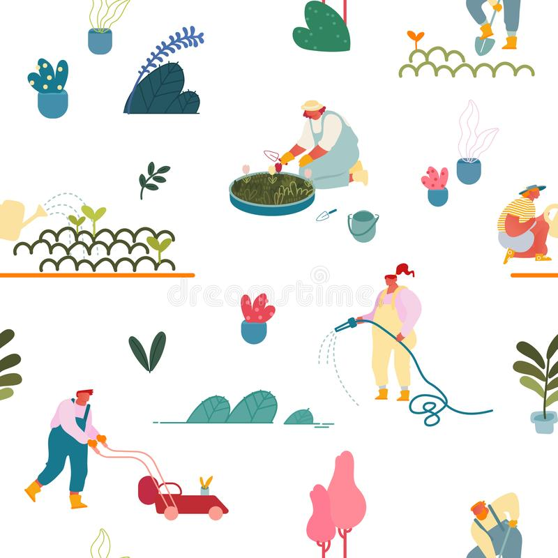 Seamless Pattern with Gardening People Planting and Caring of Trees and Plants in Garden on White Background royalty free illustration