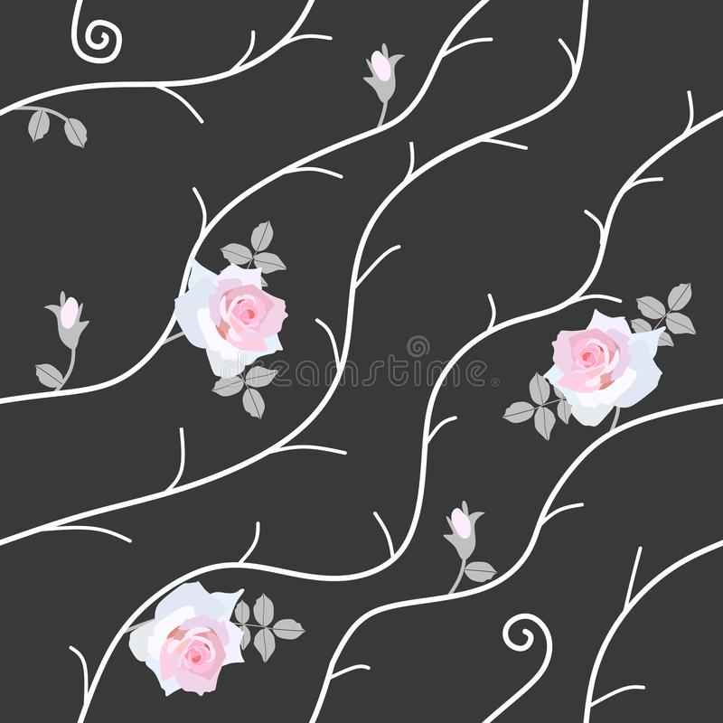 Seamless pattern with gentle light pink roses, little buds and abstract white branches isolated on black background in vector. vector illustration