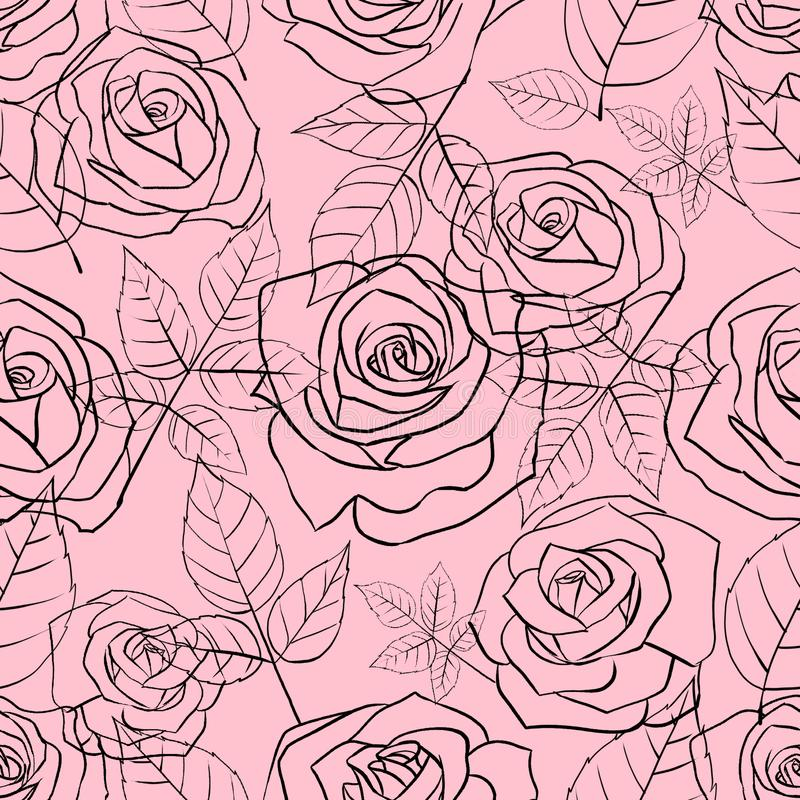 Seamless pattern with gentle linear roses and leaves on a pink background stock images