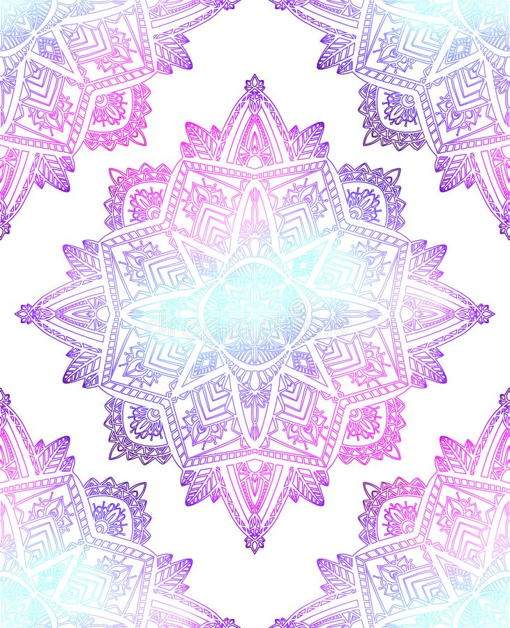 Seamless pattern of gentle mandalas on white background. Hand drawn doodle lace background. Vector gradient texture. For fabrics, wallpapers and your creativity royalty free illustration