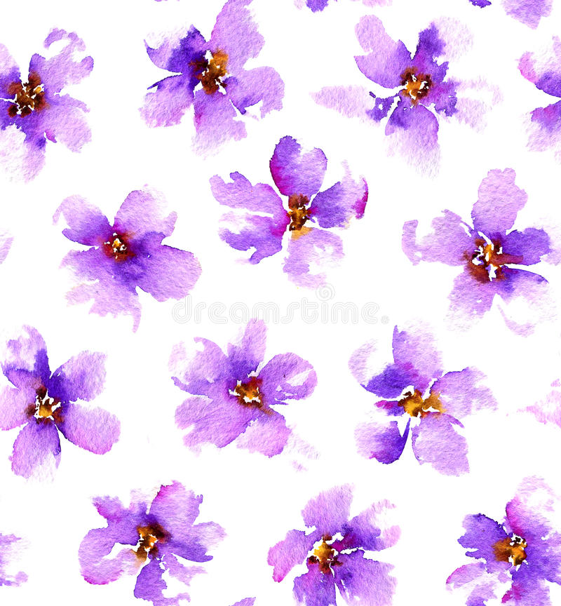 Seamless pattern with gentle watercolor flowers. vector illustration