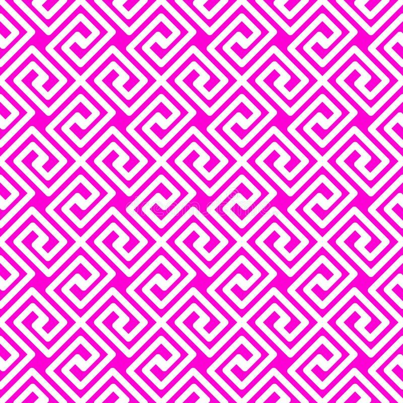 Pink geometric Greek lines seamless pattern vector illustration