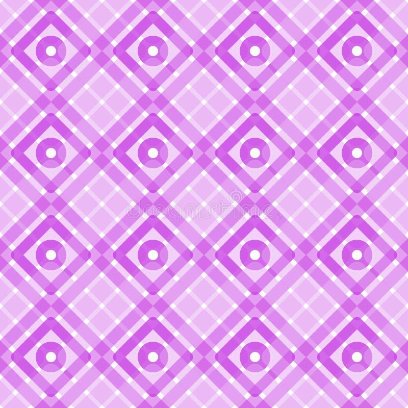 Pink geometric squares circles seamless pattern vector illustration
