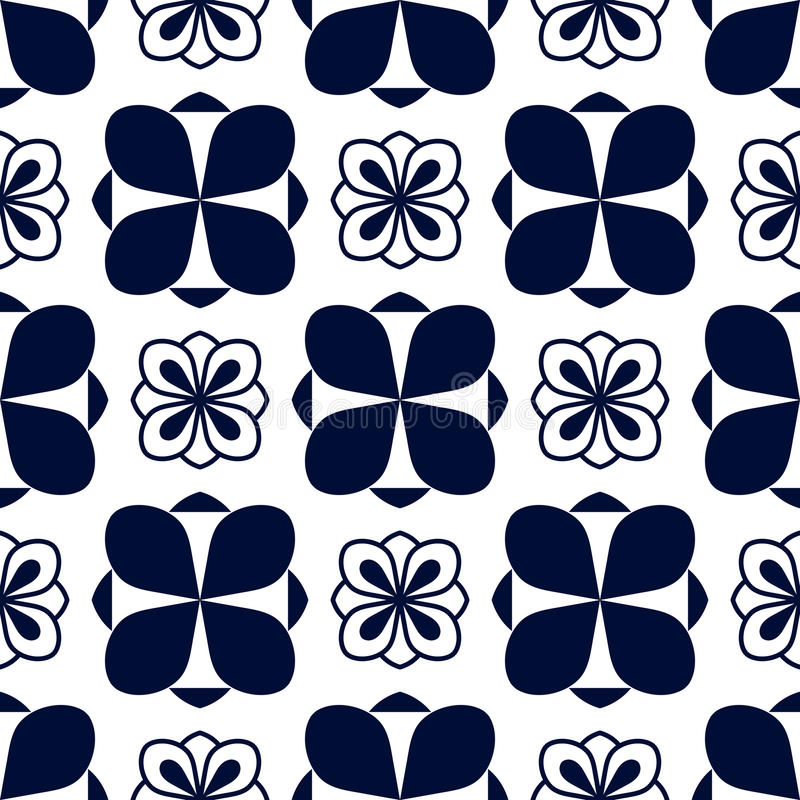 Seamless pattern with geometric blue ornament on white vector illustration