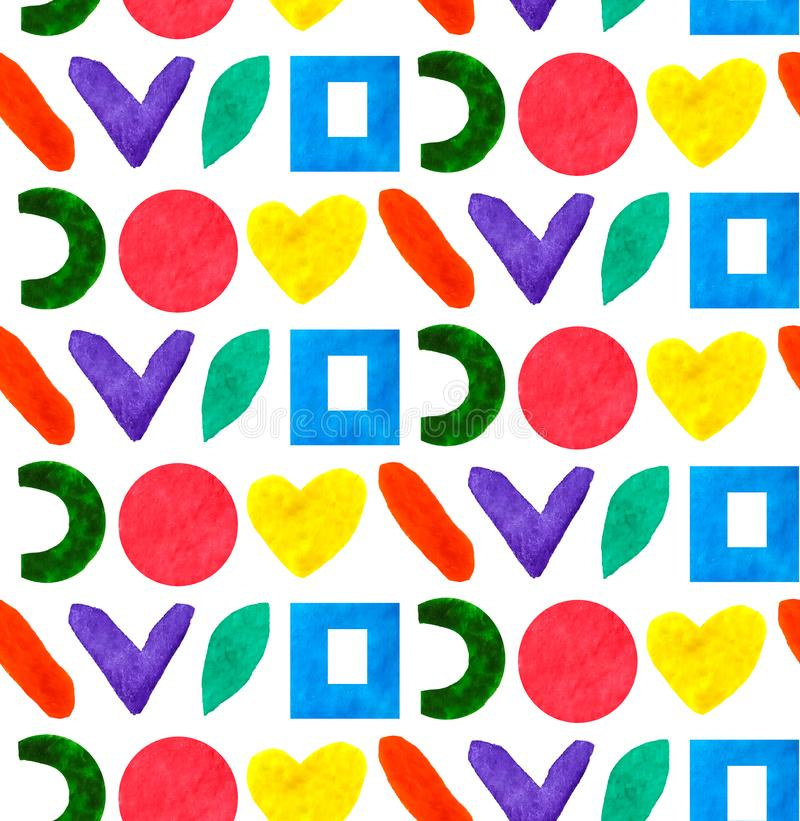 Seamless pattern geometric different form and shapes circle, square, heart in color rainbow in white background vector illustration