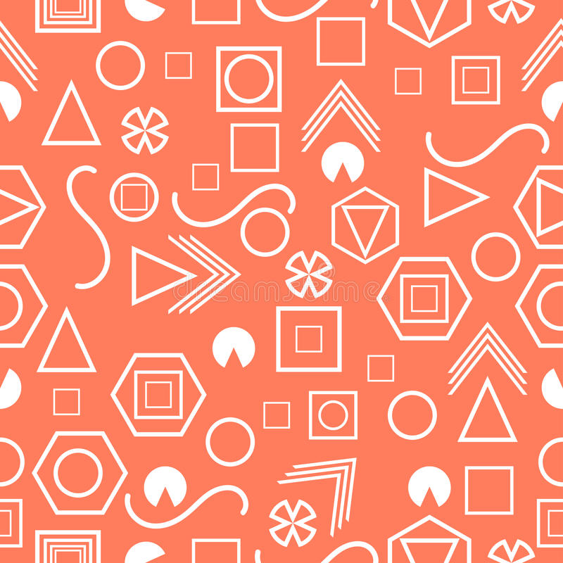 Seamless pattern with geometric figures in the Memphis style. Vector. Illustration stock illustration
