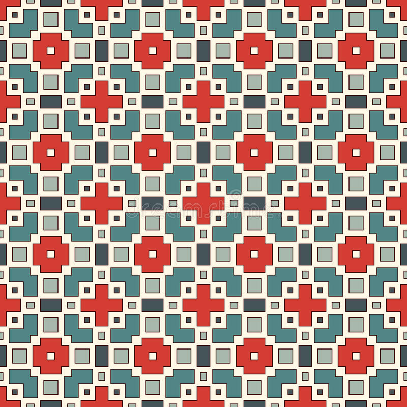 Seamless pattern with geometric figures. Repeated squares and rhombuses ornamental abstract background. royalty free illustration