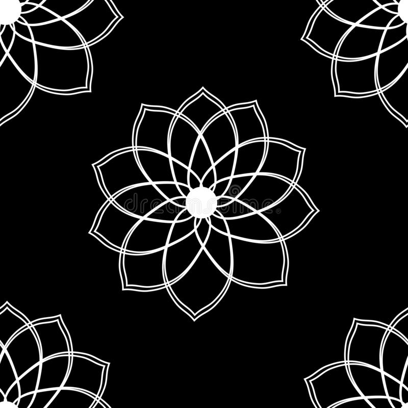Seamless pattern with geometric flower black and white illustration can be used for textille printing, background, wallpaper stock illustration