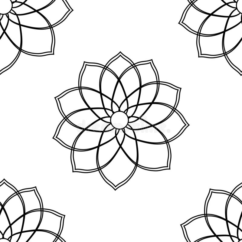 Seamless pattern with geometric flower black and white illustration can be used for textille printing, background, wallpaper stock photography