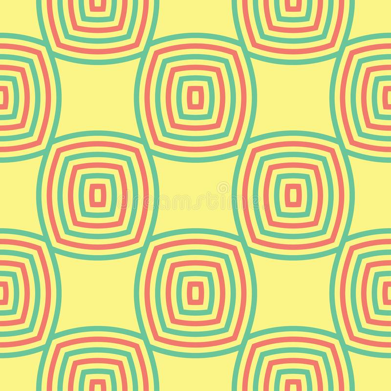 Seamless pattern with geometric green and pink elements. Yellow multi colored background royalty free illustration