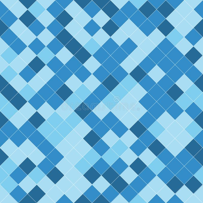 Seamless pattern with geometric ornament in blue, light blue and white vector illustration