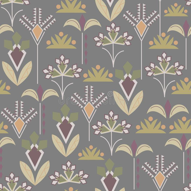 Seamless pattern of geometric shapes on a brown background. Textile national ornament for fabric, tile, wallpaper and paper royalty free illustration