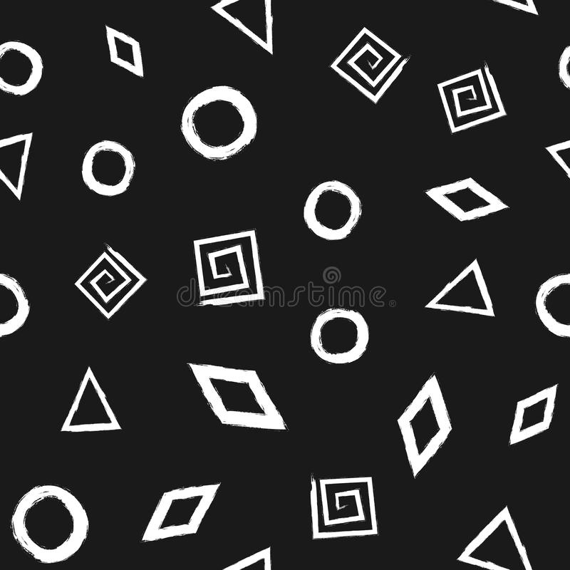 Seamless pattern with geometric shapes painted rough brush. royalty free illustration
