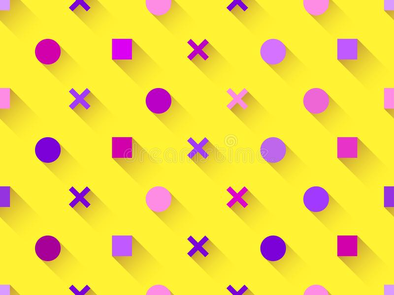 Seamless pattern with geometric shapes, square, circle with shadow on a yellow background. Purple, burgundy and pink. Vector vector illustration