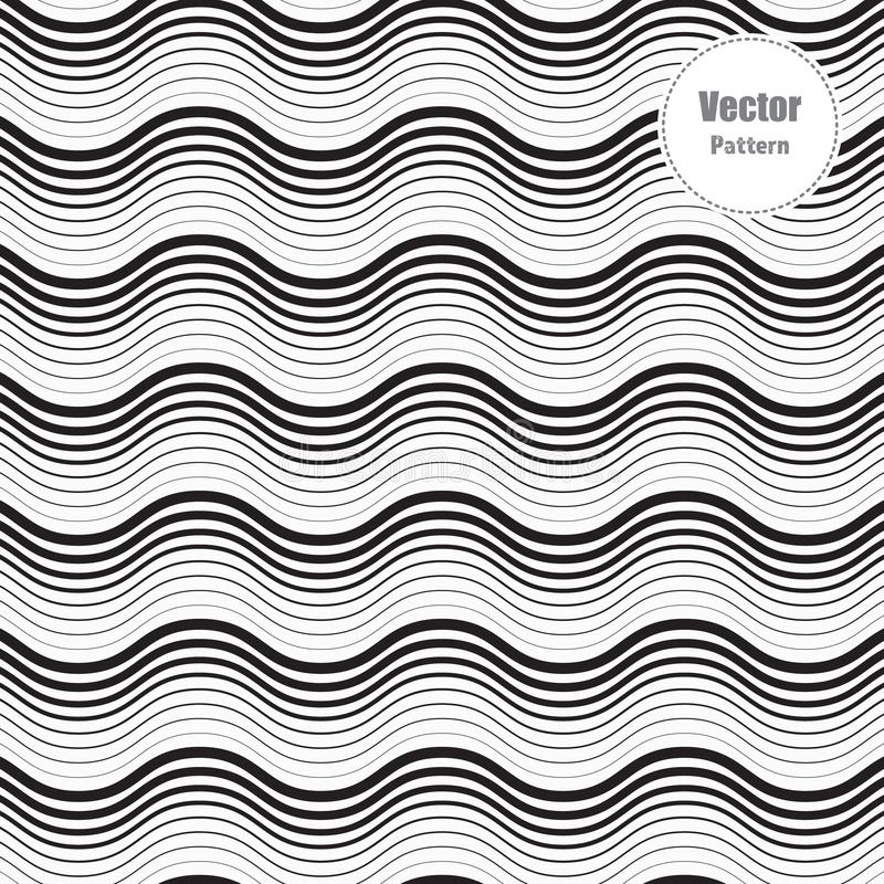 Seamless pattern with geometric waves. Endless stylish texture. Ripple monochrome background. Linear weaved grid. Graphic is clean for fabric, wallpaper vector illustration