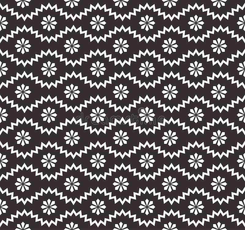 Seamless pattern with geometric zigzag and small flowers, snowflakes, stars. Abstract black and white texture. Simple royalty free illustration