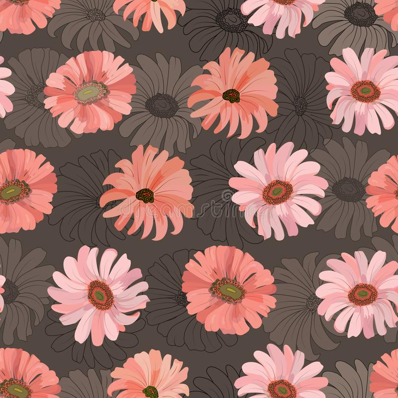 Seamless pattern with gerbera coral flowers on a dark background. Vector vector illustration