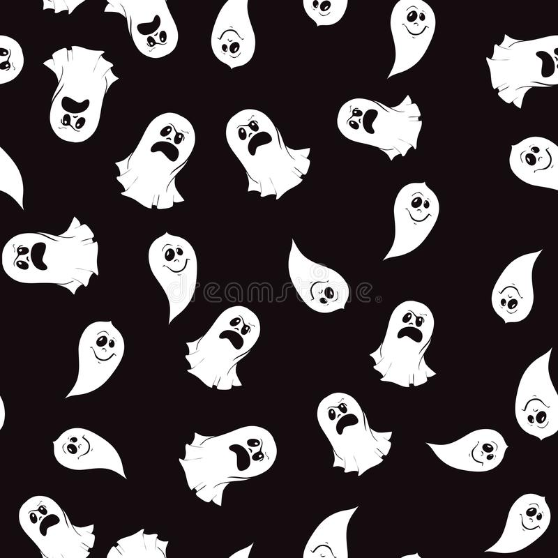 Seamless pattern of ghost characters emoticons isolated on white background. royalty free illustration