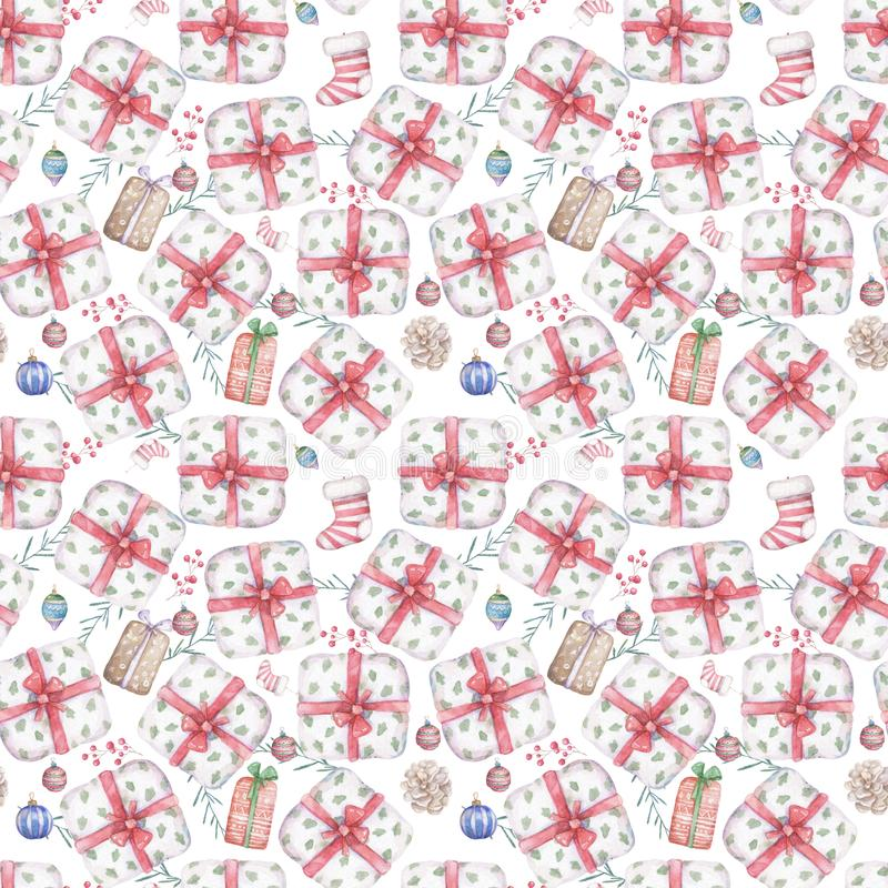 Seamless pattern of gift box with red ribbon bow Background with a pattern of watercolor illustration boxes Design element for royalty free illustration