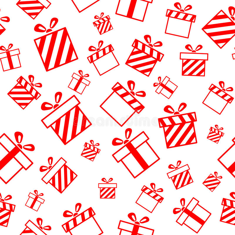 Seamless pattern with gift boxes stock illustration