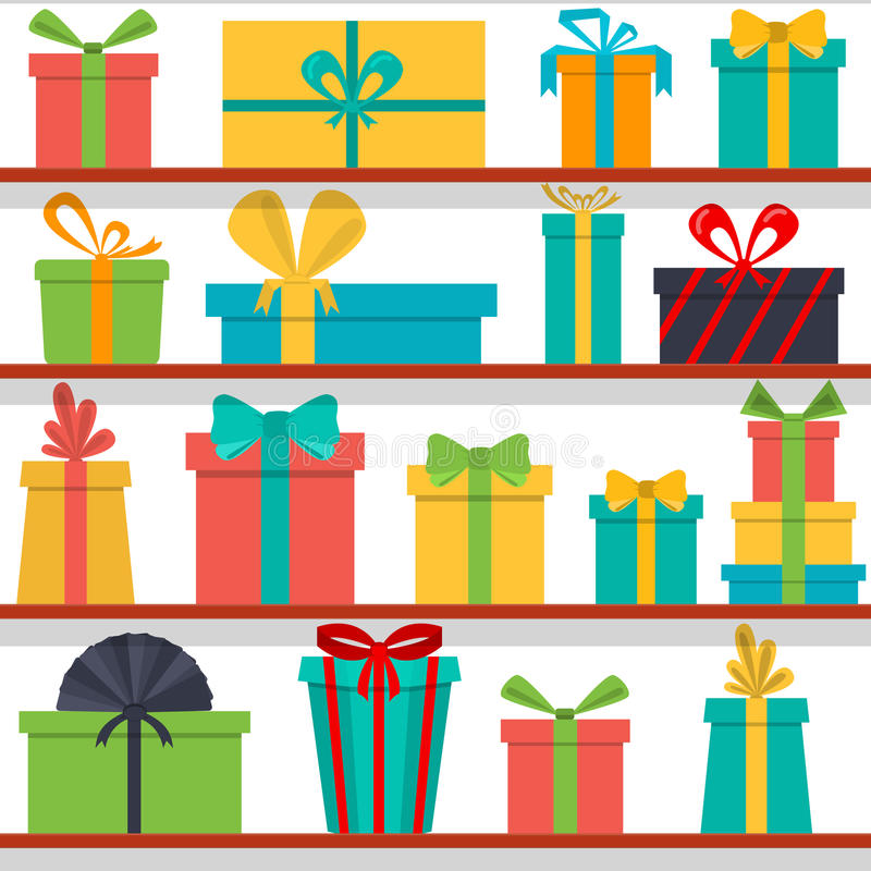 Seamless pattern of gift boxes on the shelves. Gift shop. royalty free illustration