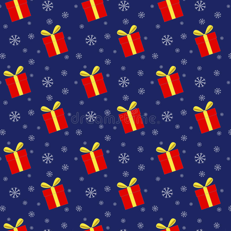 Seamless pattern of gift boxes and snowflakes stock photo