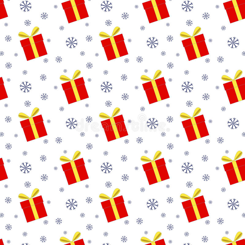 Seamless pattern of gift boxes and snowflakes stock illustration