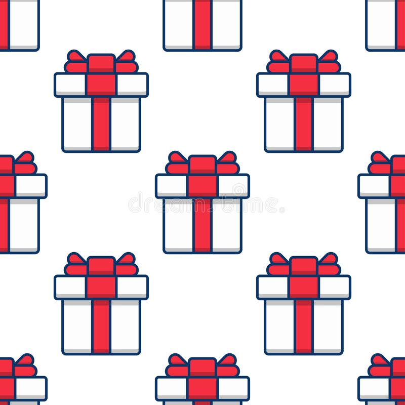 Seamless pattern, gift boxes on white background stock illustration