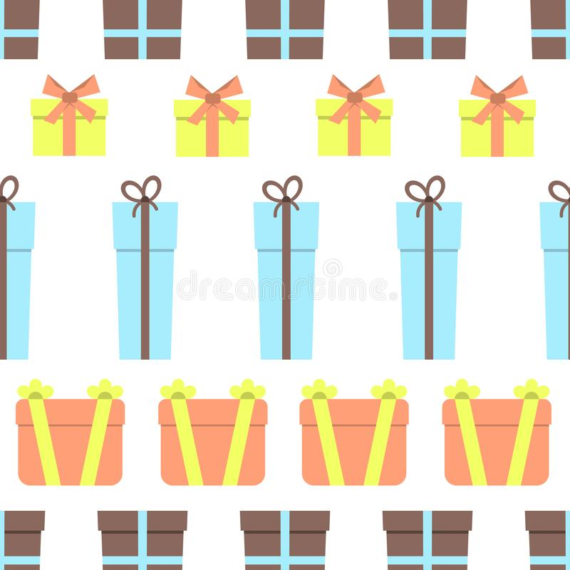 Seamless pattern with gift boxes on white background vector illustration