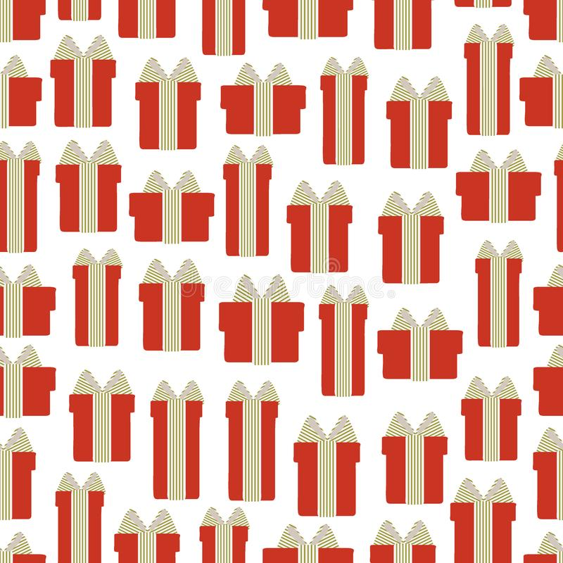Seamless pattern of gift boxes on a white background . Vector illustration vector illustration