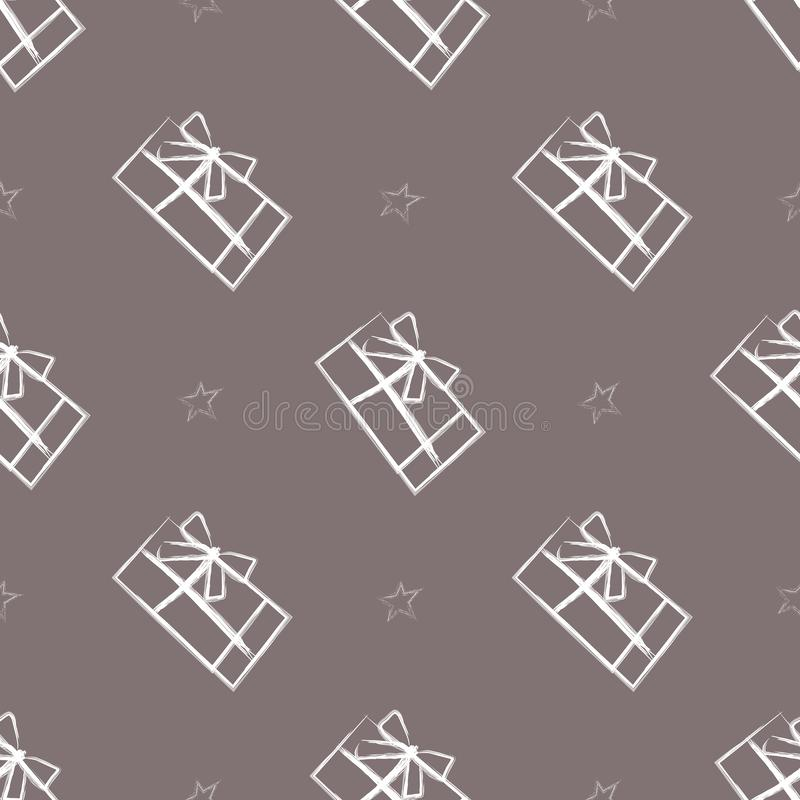 Seamless pattern with gift boxes and white stars. Hand drawing style of pattern. Good for for package design royalty free illustration