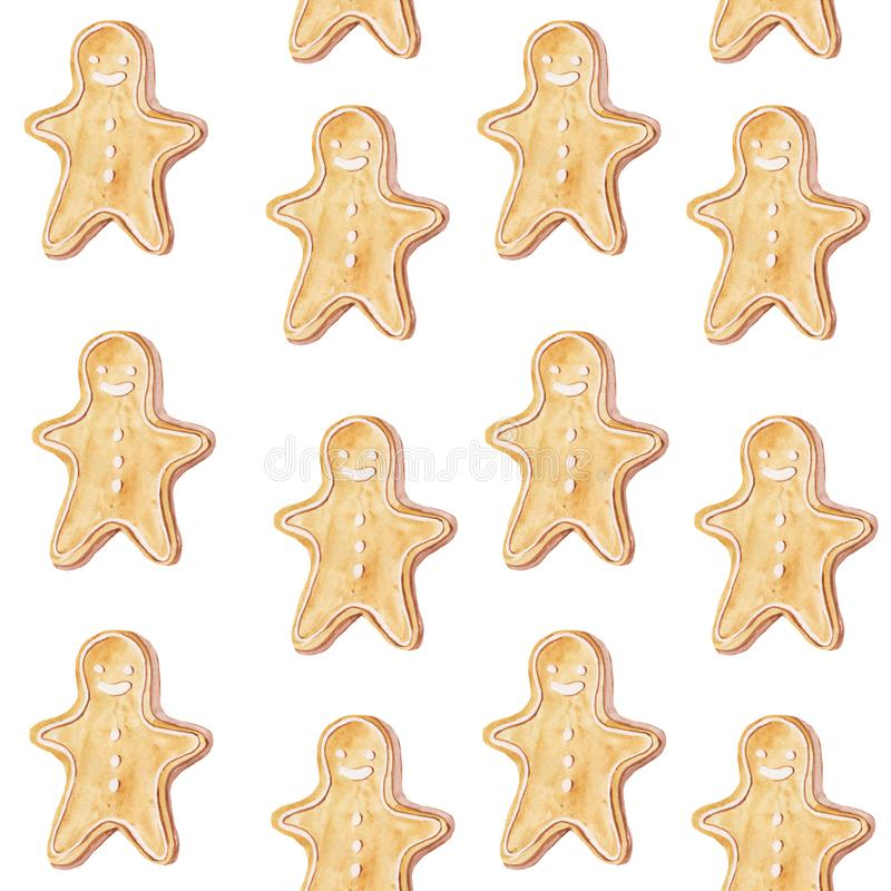 Seamless pattern with gingerbread men cookies. Watercolor hand drawing illustration for prints, gift paper, cards, posters and. Backgrounds. christmas stock images