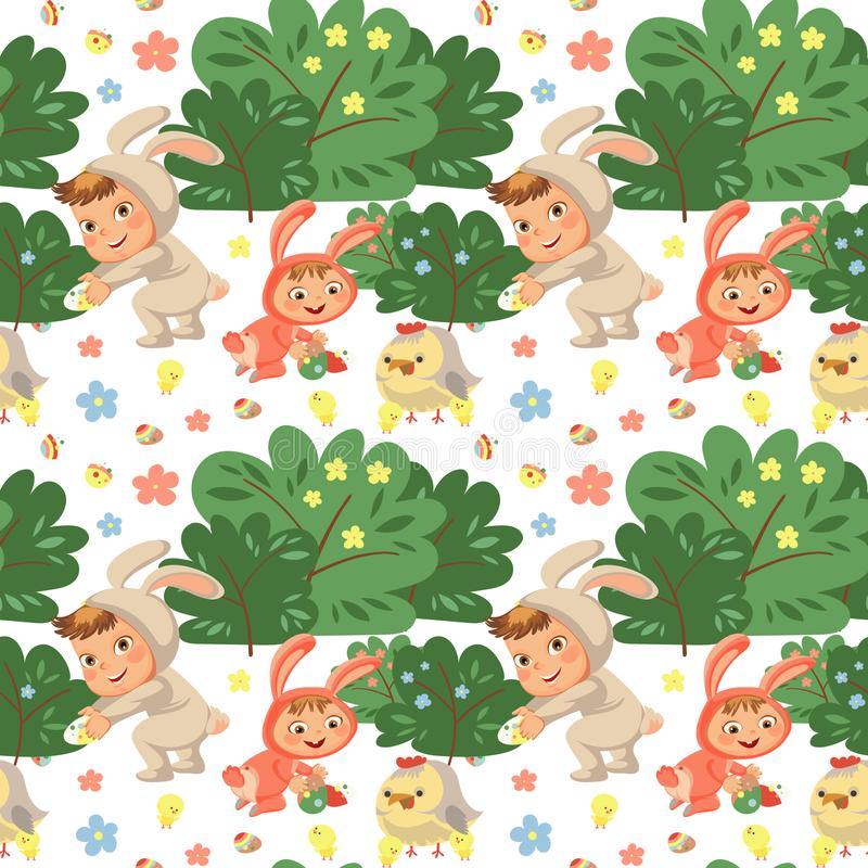 Seamless pattern girl smile playing with chickens under flowers bush, baby in apron with rabbit ears headband, easter stock illustration