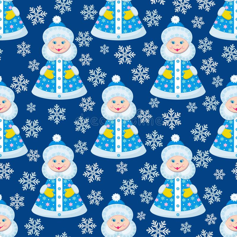 Seamless pattern girl Snow Maiden and snowflakes on a dark background. Vector stock illustration