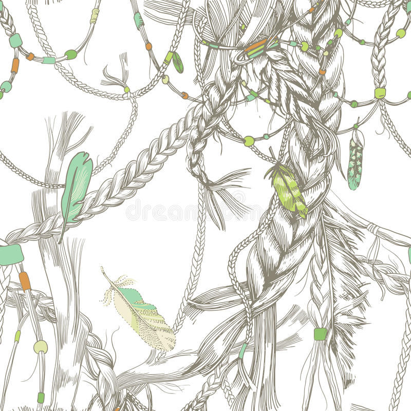 Seamless pattern with girlish braids, hair, wind and feathers. vector illustration