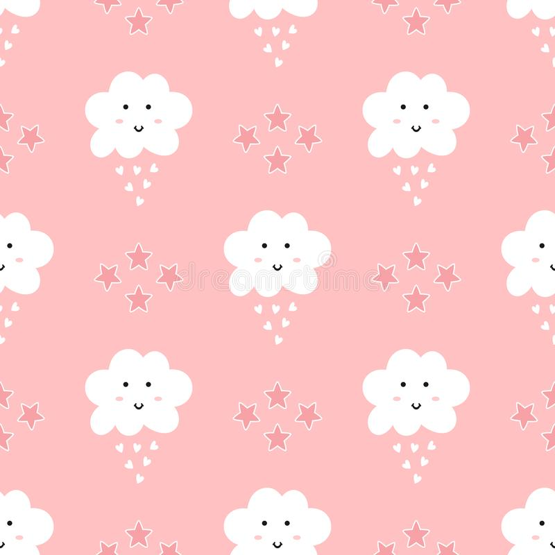Seamless pattern for girls. Repeating stars, cute clouds with smiling face and rain drops in the form of hearts. royalty free illustration