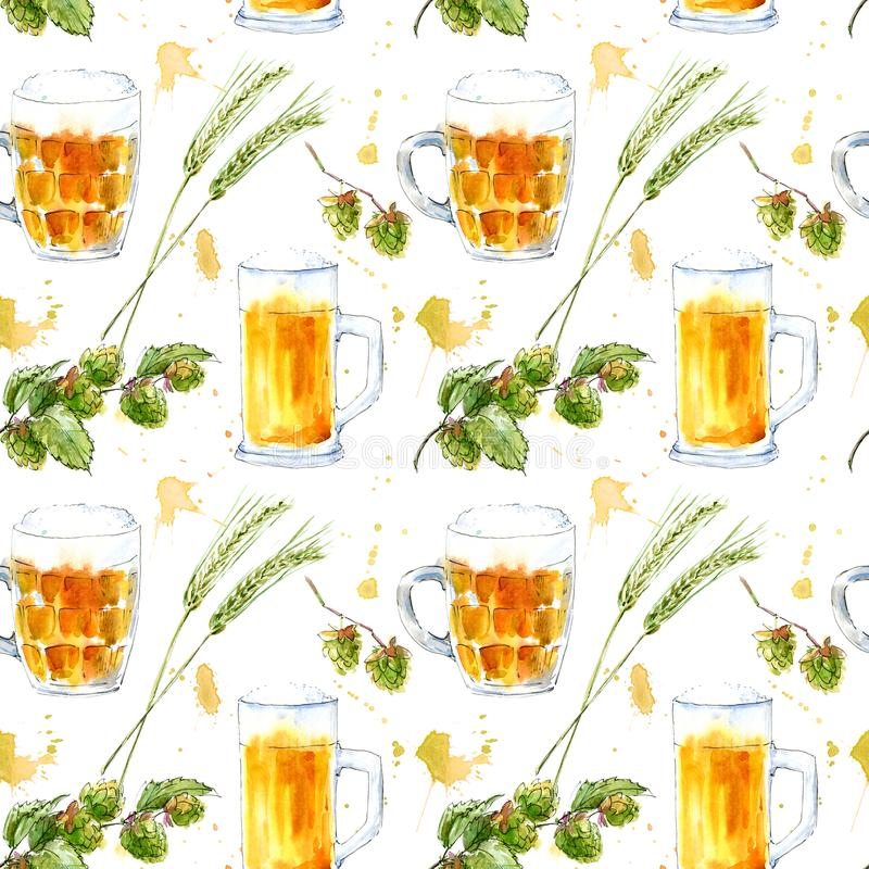 Seamless pattern of a glass of a beer, barley and hops. Picture of a alcoholic drink. Watercolor hand drawn illustration.White background stock illustration