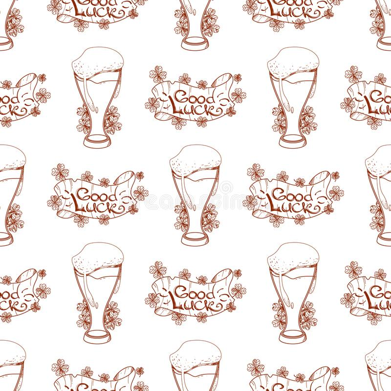 Seamless pattern with a glass of foamy beer and of good luck banner.  stock illustration