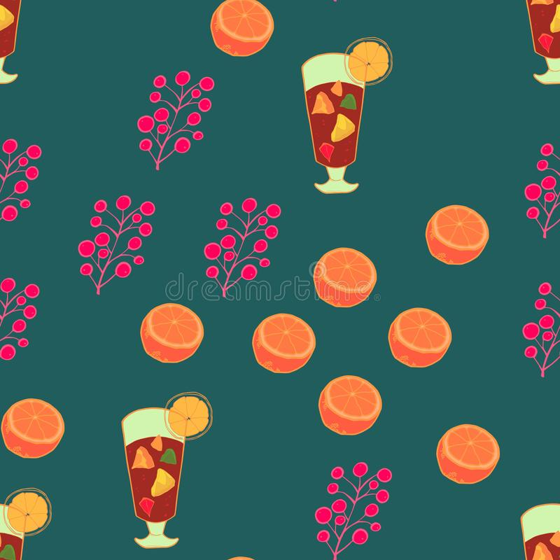 Seamless pattern with glass of mulled wine with pieces of apple and orange inside, cut oranges and berries on turquoise background vector illustration