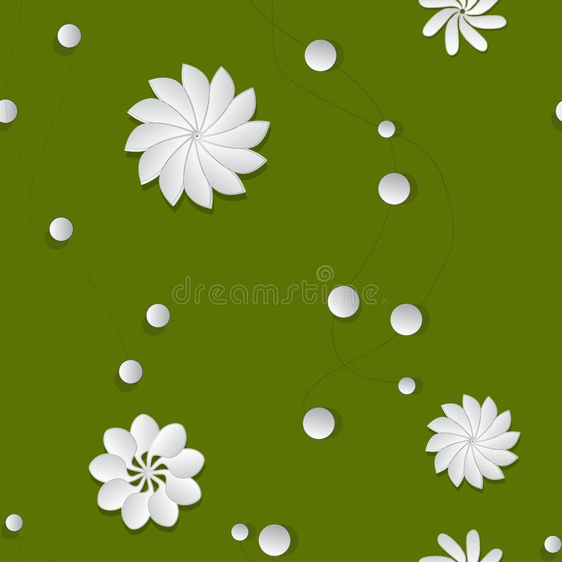 Seamless pattern of glass paper flowers on green background stock illustration