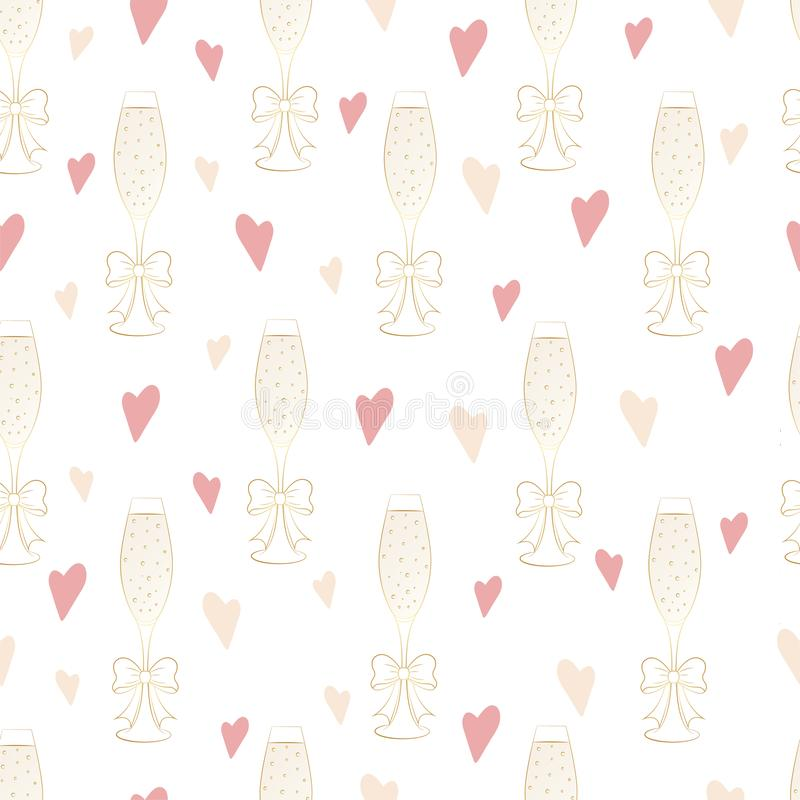 Seamless pattern of glasses with champagne and hearts vector illustration