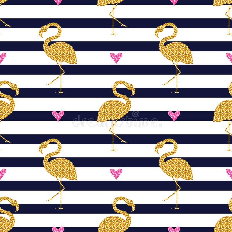 Seamless pattern with glitter flamingos and hearts. Striped background royalty free illustration