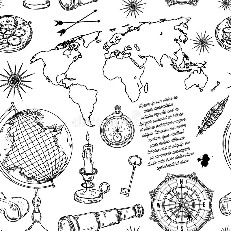 Seamless pattern with globe, compass, world map and wind rose. Vintage science objects set in steampunk style. Vector illustration vector illustration