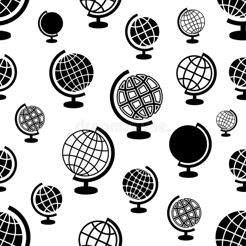 Seamless pattern with globes stock illustration