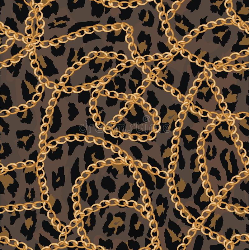 Seamless pattern with gold chain on lepard skin , belt and pearls. illustration royalty free illustration