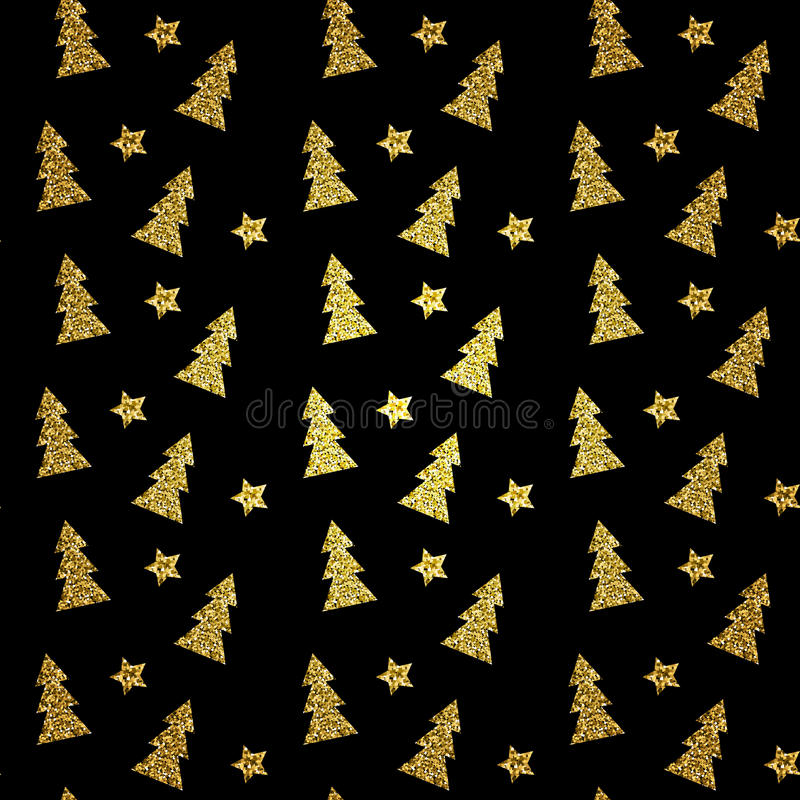 Seamless pattern of gold Christmas tree on black background. Vector illustration. vector illustration