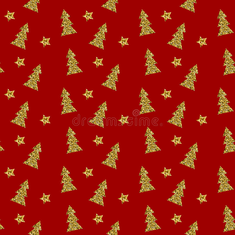 Seamless pattern of gold Christmas tree on red background. Vector illustration. royalty free illustration
