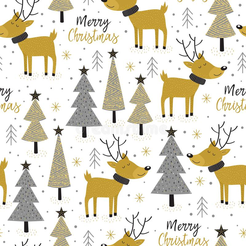 Seamless pattern gold Christmas trees and deer vector illustration