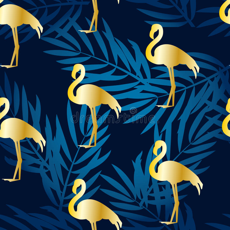 Seamless pattern with gold flamingo and gradient palm branches. Ornament for textile and wrapping. Vector vector illustration