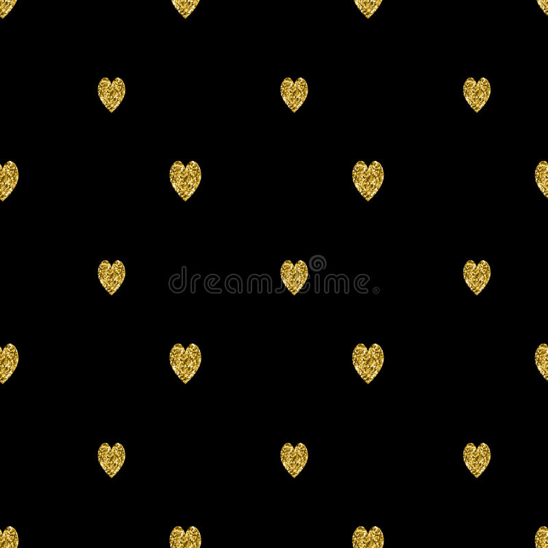 Seamless pattern with gold glitter textured hearts. Vector stock illustration